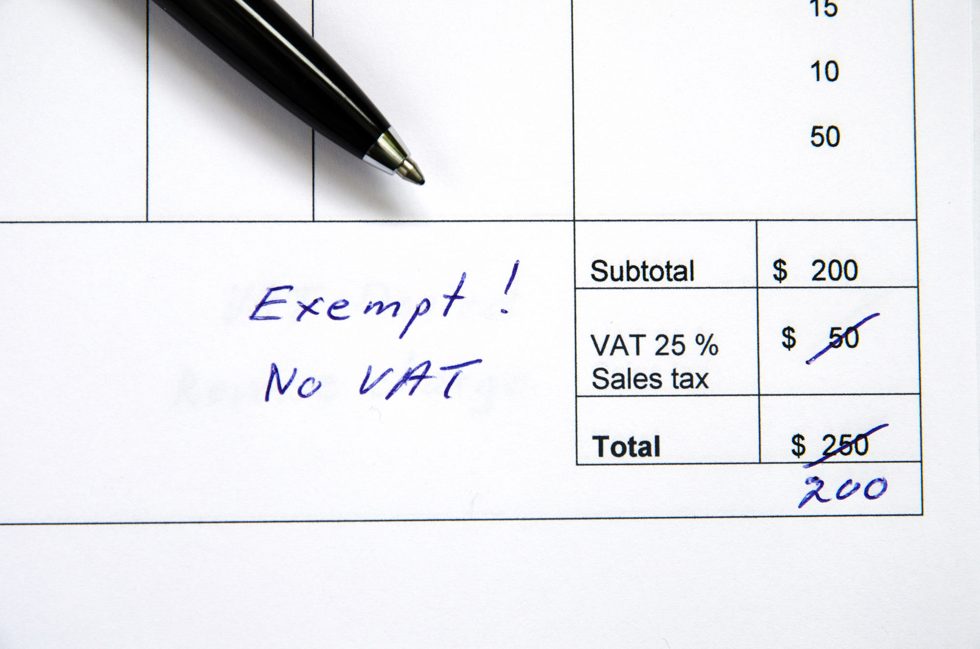 VAT EXEMPTION (OPERATING COSTS)
